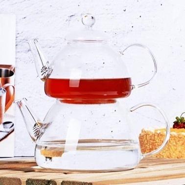 Tohana Borosilikat Cam Çaydanlık 480ml + 1200ml Renkli